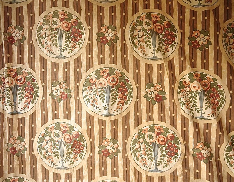 Flowers in Vases Cotton Textile, French, 1920s For Sale 3