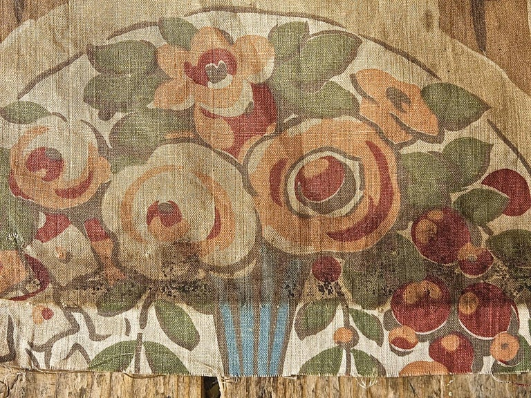 Flowers in Vases Cotton Textile, French, 1920s For Sale 4