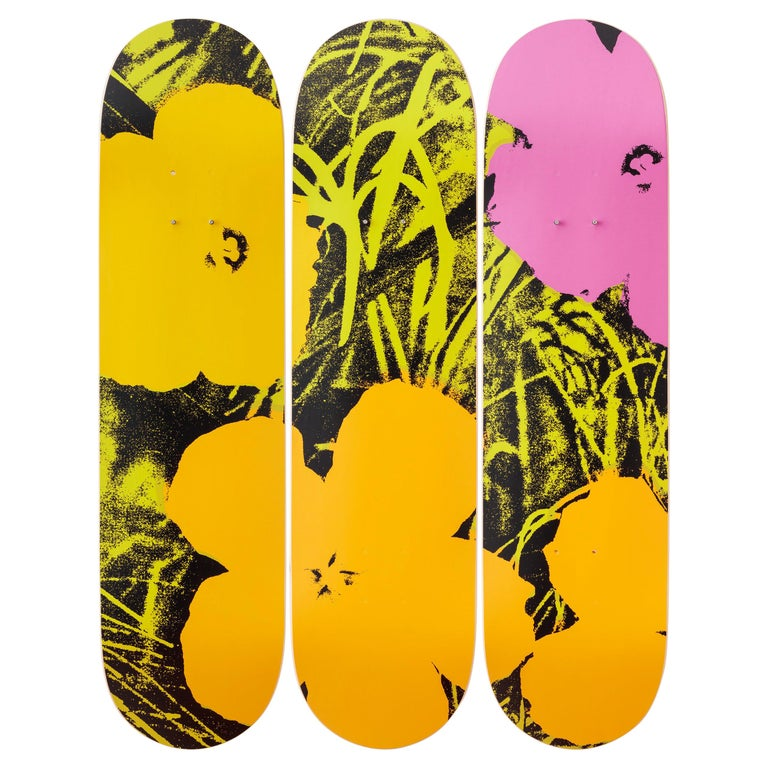 Flowers (Lime/Orange) Skateboard Decks After Andy Warhol For Sale