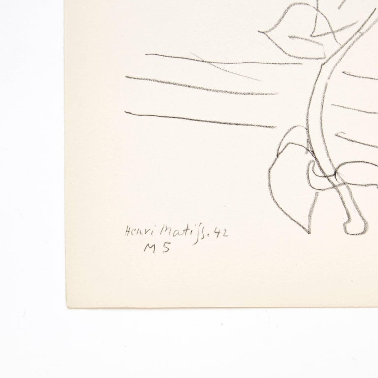 Lithograph / plate from the book Dessins: Themes et Variations. Edited by Martin Fabiani (Paris) in 1943.  In good original condition.  Henri Matisse (1869-1954) was a French artist, known for both his use of color and his fluid and original