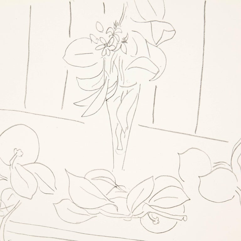 Mid-Century Modern Flowers Lithograph in Paper after Original Matisse Drawing For Sale