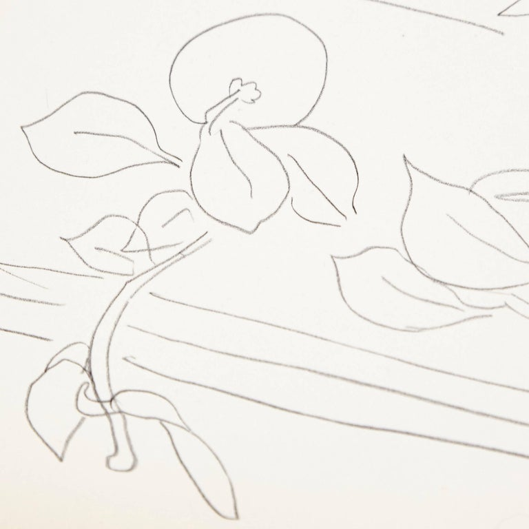 French Flowers Lithograph in Paper after Original Matisse Drawing For Sale