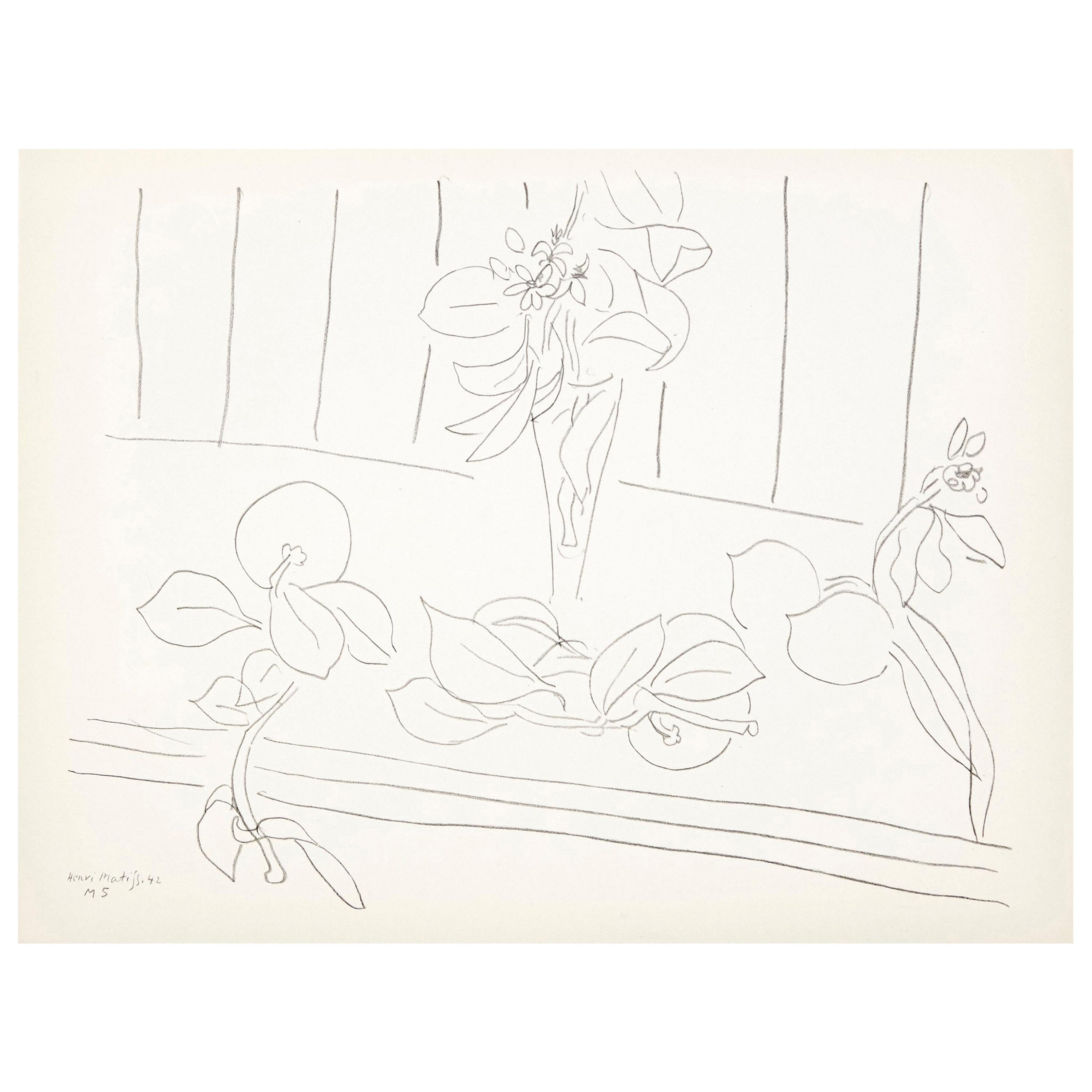 Flowers Lithograph in Paper after Original Matisse Drawing