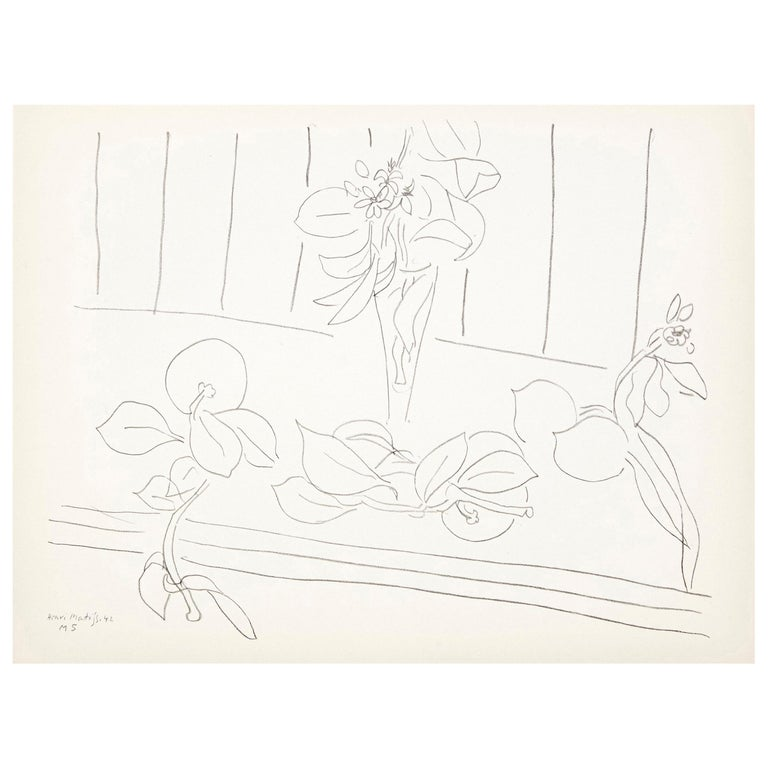 Flowers Lithograph in Paper after Original Matisse Drawing For Sale