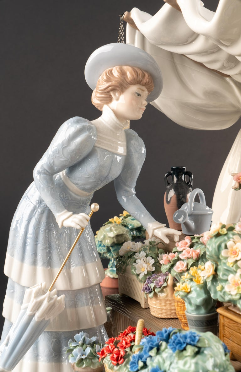 Hand-Painted Flowers Market Sculpture. Limited Edition For Sale