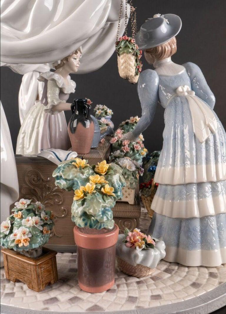 Porcelain Flowers Market Sculpture. Limited Edition For Sale