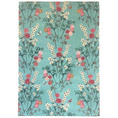 Flowers of Virtue Blue Opal Hand Tufted Wool and Viscose Rug by Wendy Morrison