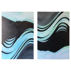 "Flowing Lines of Blue ""Diptych"" Painting"