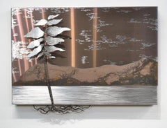 Original steel panel sculpture by Floyd Elzinga  SILVER TREE 19029