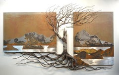 Original steel wall panel by Floyd Elzinga ROOTED #19-482, triptych