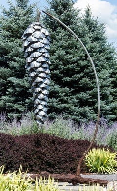 Suspended Pine Cone - large, nature inspired, stainless steel outdoor sculpture
