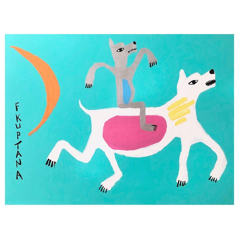 Floyd Kuptana Jolly Rider Contemporary Inuit Painting, 2020 For Sale
