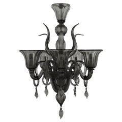 Chandelier 5 arms Dark Grey Murano Glass with pendants on the arms by Multiforme
