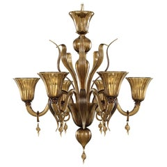 Fluage Chandelier 6 Lights in Dark Smoky Quartz Murano Glass by Multiforme