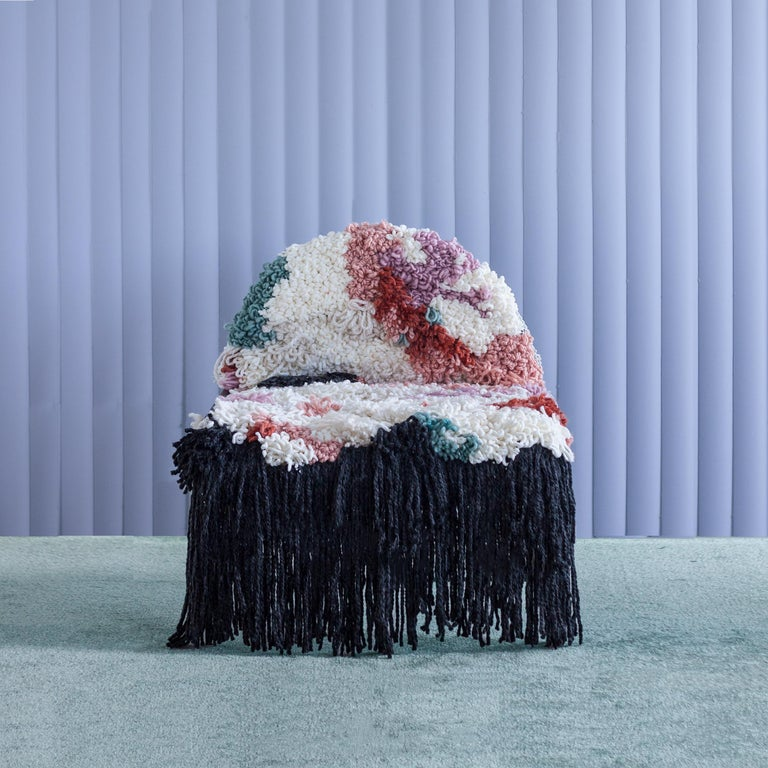 Modern Fluffy, Hand-Knotted Organic Yarn and Steel SW Chair by soft-geometry For Sale