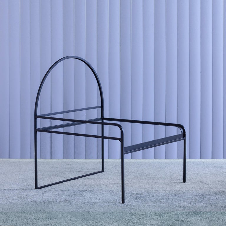 Powder-Coated Fluffy, Hand-Knotted Organic Yarn and Steel SW Chair by soft-geometry For Sale