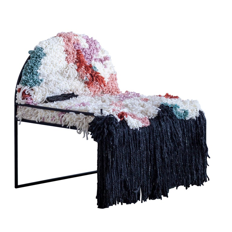 Fluffy, Hand-Knotted Organic Yarn and Steel SW Chair by soft-geometry For Sale