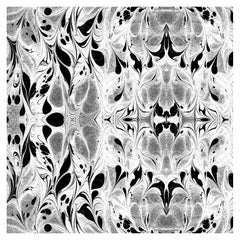 """""""Fluid"""" Marbleized Pattern in Black and White Color-Way, on Smooth Paper"""