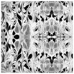 """Fluid"" Marbleized Pattern in Black and White Color-Way, on Smooth Paper"