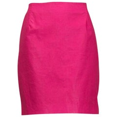 Fluorescent Fuchsia Versace Jeans Couture Vegan Leather Mini Skirt - M, 1990s