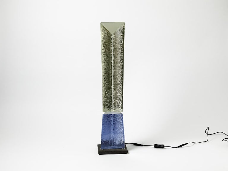 Cast Fluorescent Light Glass Sculpture Yellow and Blue by Yves Braun Table Lamp For Sale