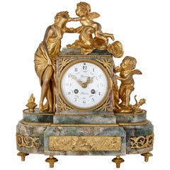 Fluorite and Gilt Bronze Clock, Depicting 'Love'