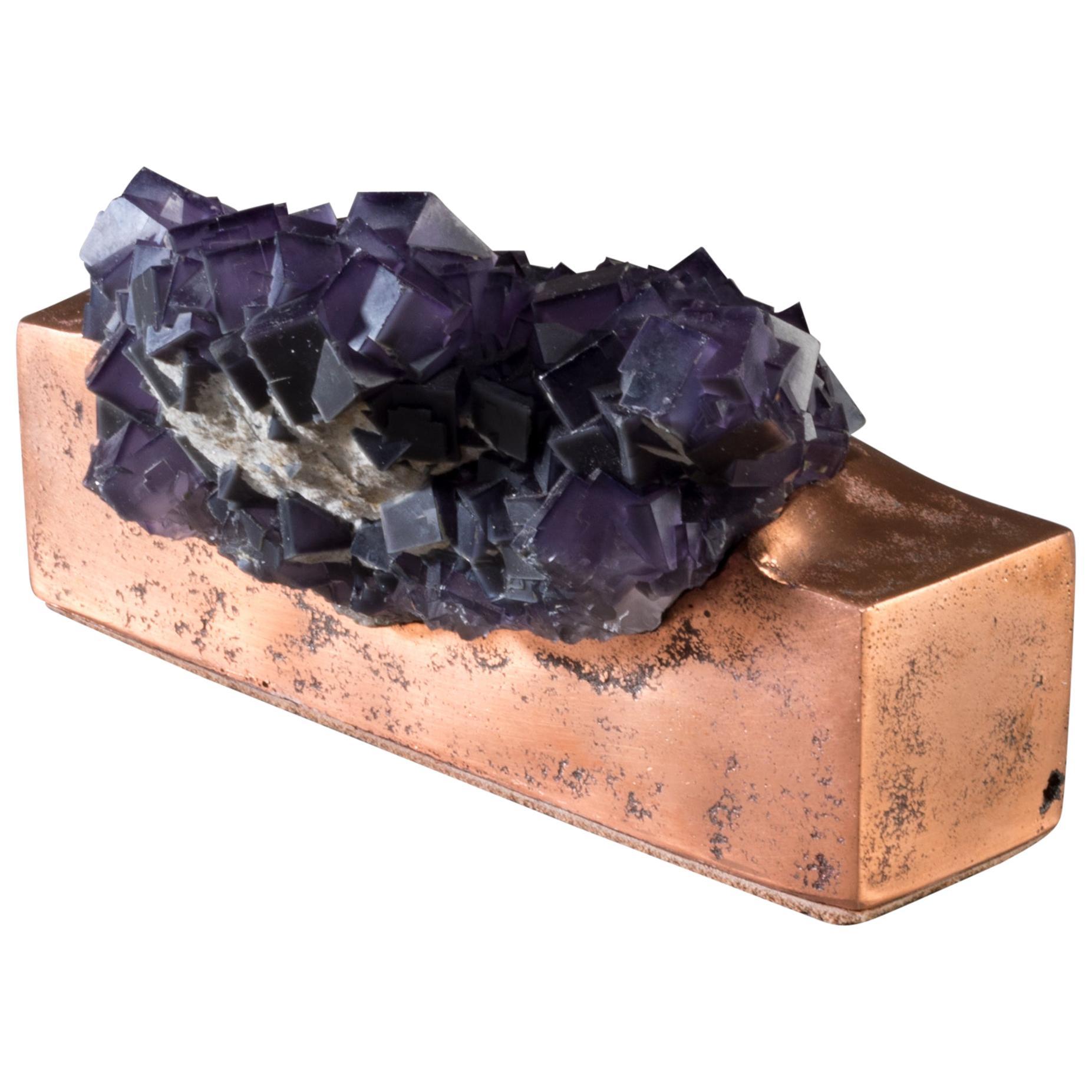 Fluorite on Copper Base