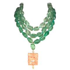 Fluorite Stone Carved Coral Diamonds 18 Karat Gold Necklace