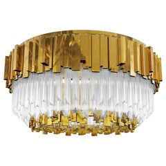 Flush Light in Gold-Plated Brass and Crystal Glass