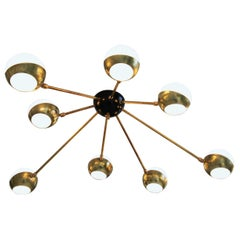 Flush Mount Brass and Glass Chandelier 8 Arms, Stilnovo Style, Low Ceiling Best