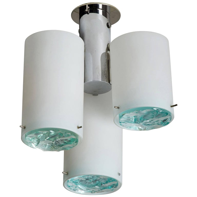 Flush Mount Ceiling Light Attributed to Max Ingrand for Fontana Arte