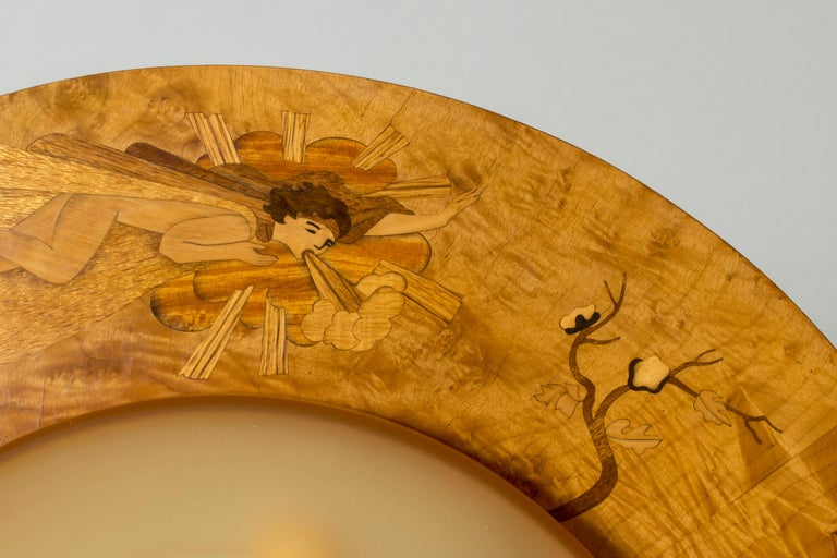 Mid-20th Century Flush Mount Ceiling Light by Birger Ekman for Mjölby Intarsia, Sweden, 1930s For Sale