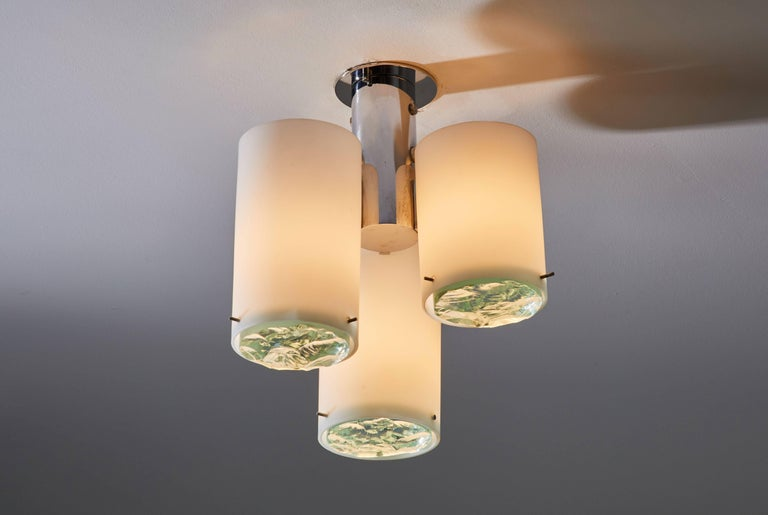 Flush mount ceiling light attributed to Max Ingrand for Fontana Arte. Designed and manufactured in Italy, circa 1960s. Three shades, chrome, brushed satin glass, and faceted crystal diffusers. Wired for US junction boxes. Each light takes one E14