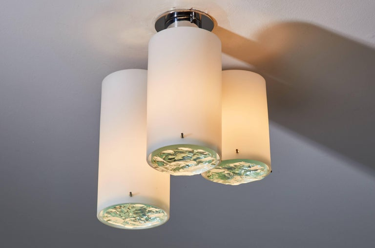 Mid-Century Modern Flush Mount Ceiling Light Attributed to Max Ingrand for Fontana Arte For Sale