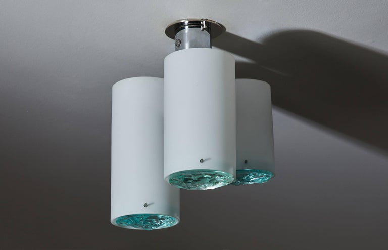 Italian Flush Mount Ceiling Light Attributed to Max Ingrand for Fontana Arte For Sale