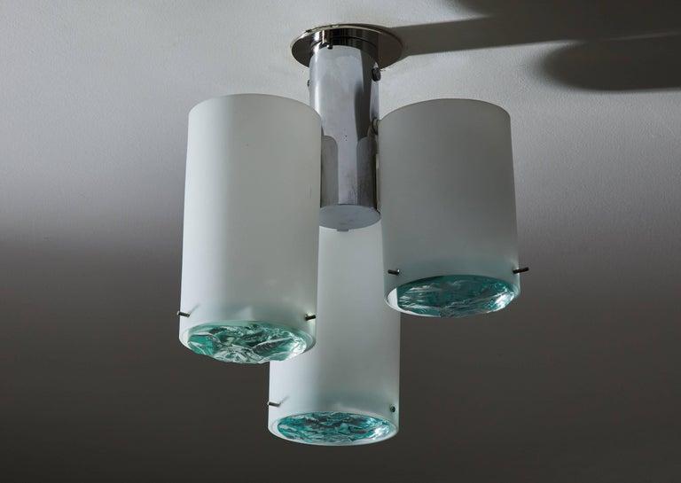 Mid-20th Century Flush Mount Ceiling Light Attributed to Max Ingrand for Fontana Arte For Sale