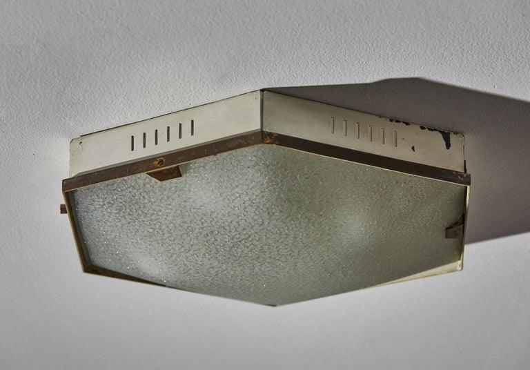 Enameled Flush Mount Ceiling Light by Stilnovo For Sale