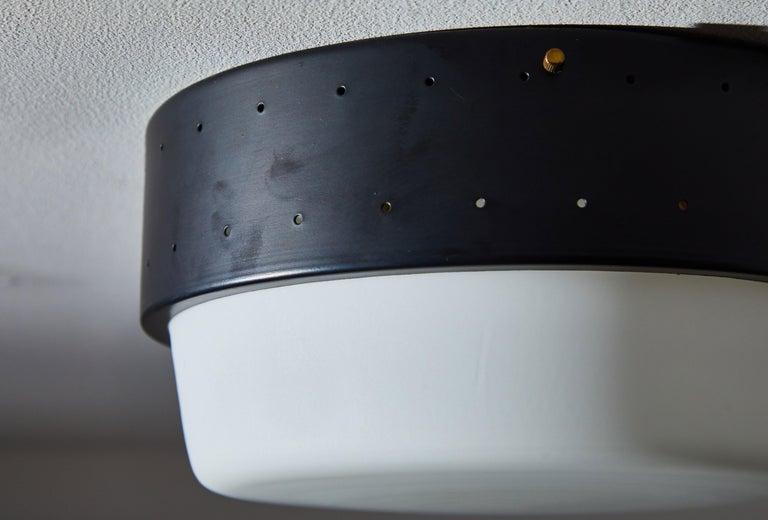 Aluminum Flush Mount Ceiling Light by Stilnovo For Sale
