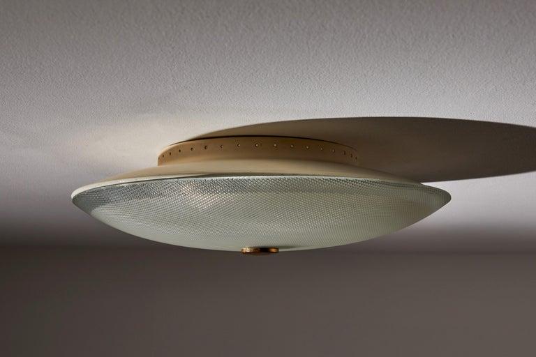 Brass Flush Mount Ceiling Light by Stilnovo For Sale