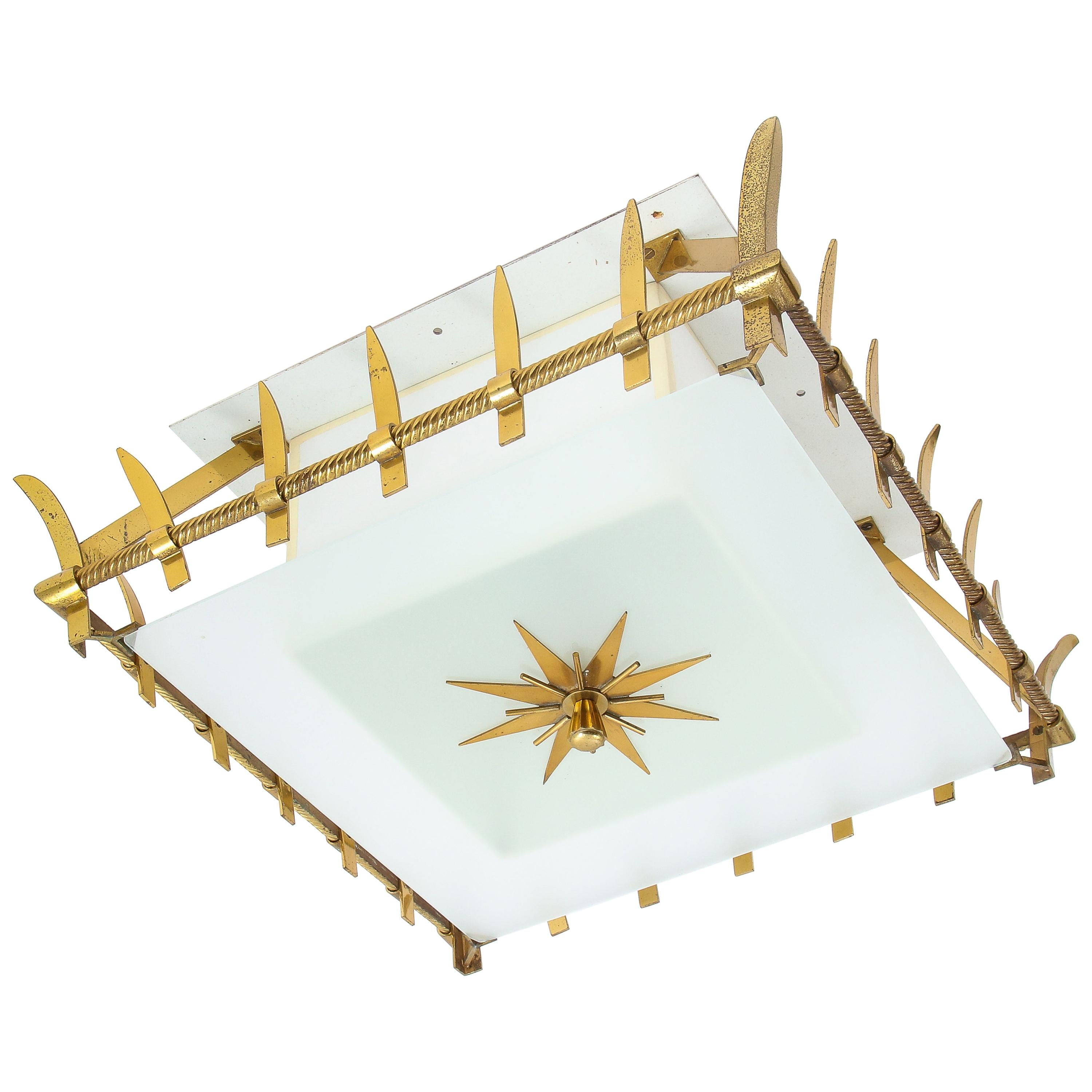 Flushmount Fixture in Bronze and Glass by Marius-Ernest Sabino, France, 1950s