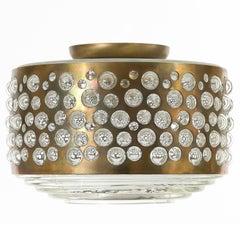 Flush Mount Light, Natural Aged Brass Bubble Glass, Rupert Nikoll, Austria, 1960