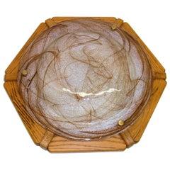 Flush Mount Light Amber Clear Swirl Murano Glass Wood Frame, 1980s