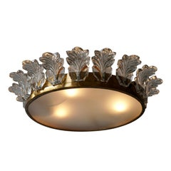 Flush Mount Light in Brass and Glass