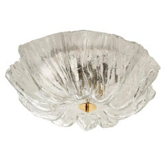 Flush Mount Light, Murano Glass Brass Chrome, 1970