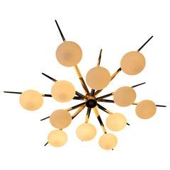 Flush Mount Starburst Ceiling Light Brass and Glass, in Stock