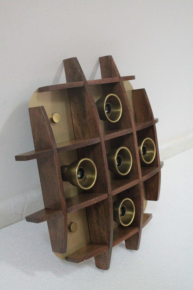 Space Age Flushmount Wood Teak Esperia Design Angelo Brotto, 1960s For Sale