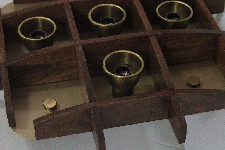 Italian Flushmount Wood Teak Esperia Design Angelo Brotto, 1960s For Sale