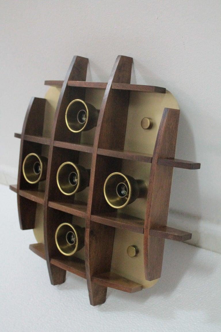 Flushmount Wood Teak Esperia Design Angelo Brotto, 1960s In Good Condition For Sale In Palermo, Palermo