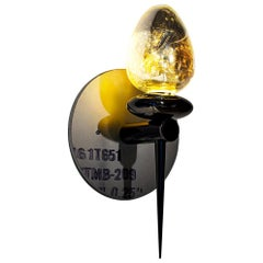 Flush Mounted Wall Sconce, Sublimation Sconce 301 in handblown glass and brass