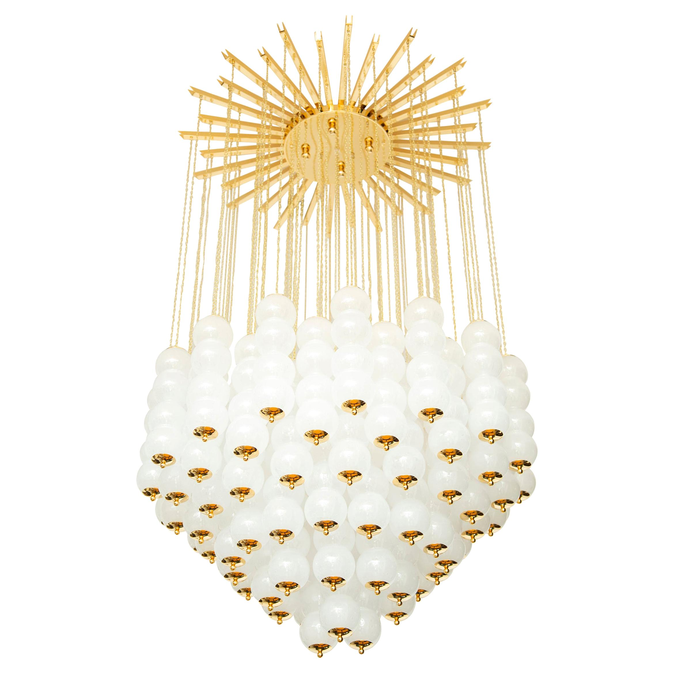 Flushmount Conical Murano White Glass and Brass Ceiling Light